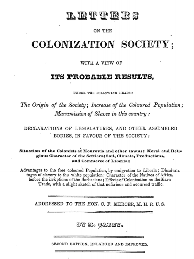 """Letters on the Colonization Society"""