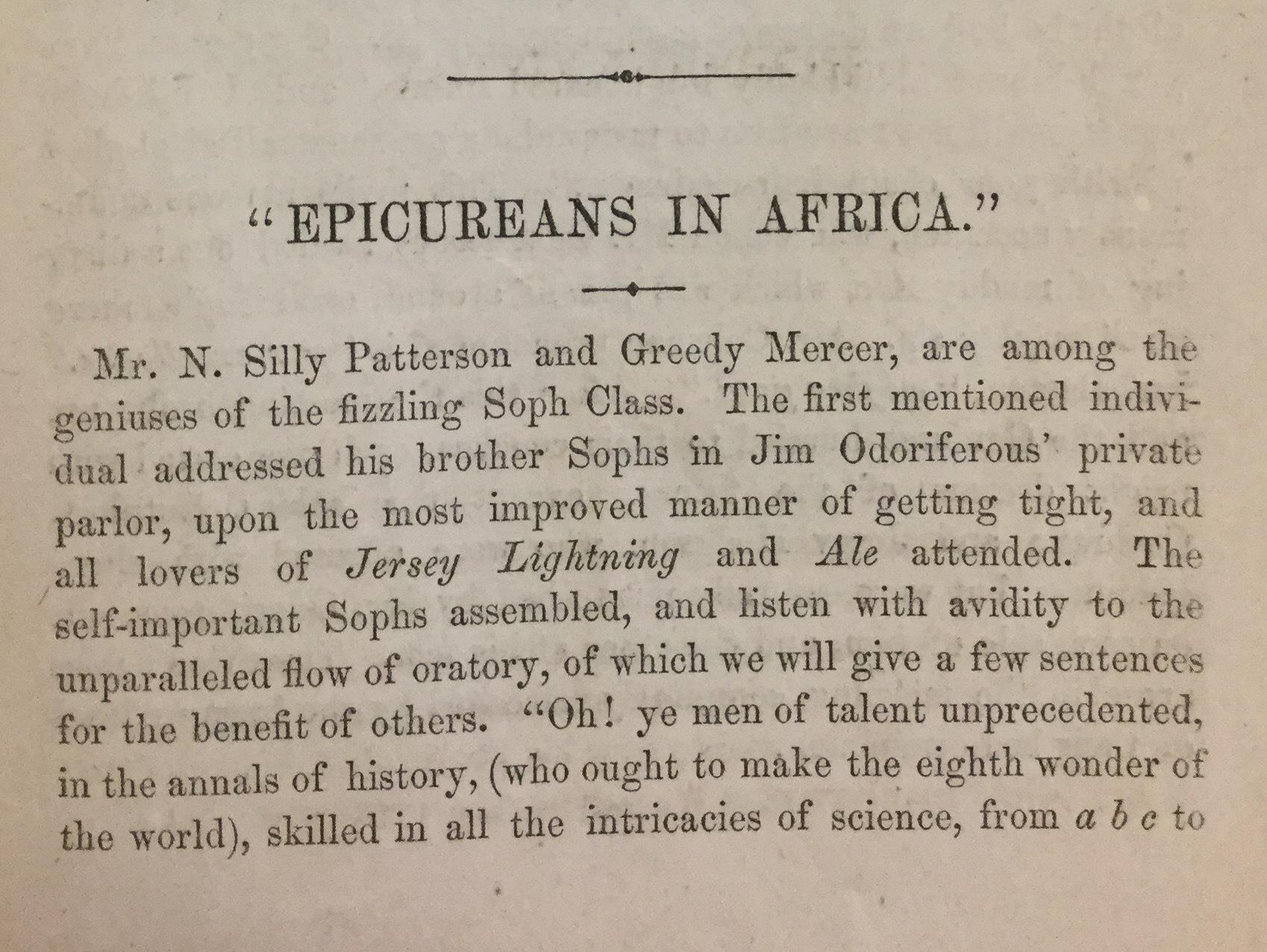 """""""Epicureans in Africa"""""""