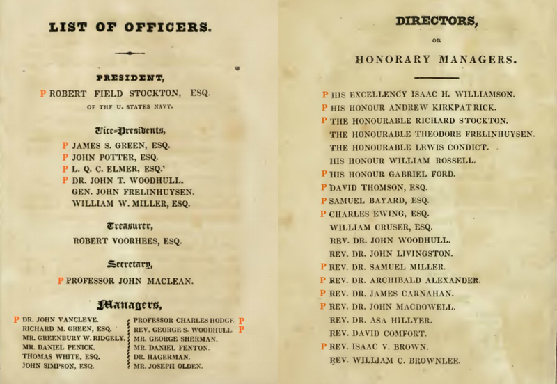 List Of Officers Of The New Jersey Colonization Society
