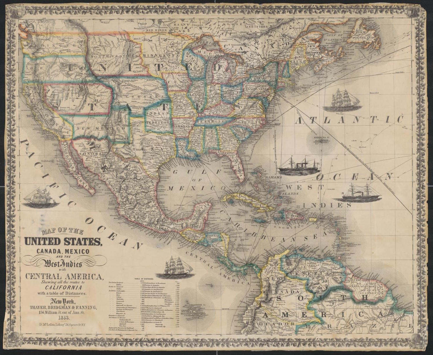 Map of the United States, Canada, Mexico and the West Indies with Central America