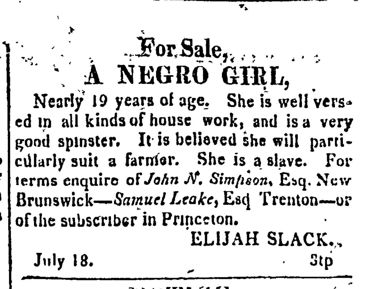 """Negro Girl"" to be sold by Elijah Slack"