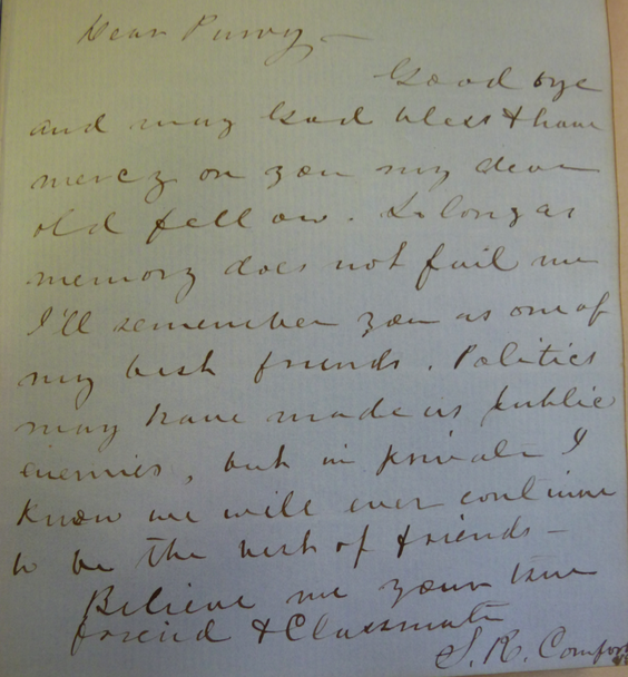Autograph Book Entry by Samuel Comfort