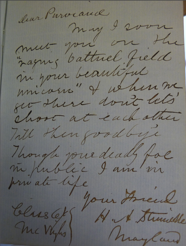 Princeton And Secession Example Of Autograph Book Signing Stinnecke To Purviance