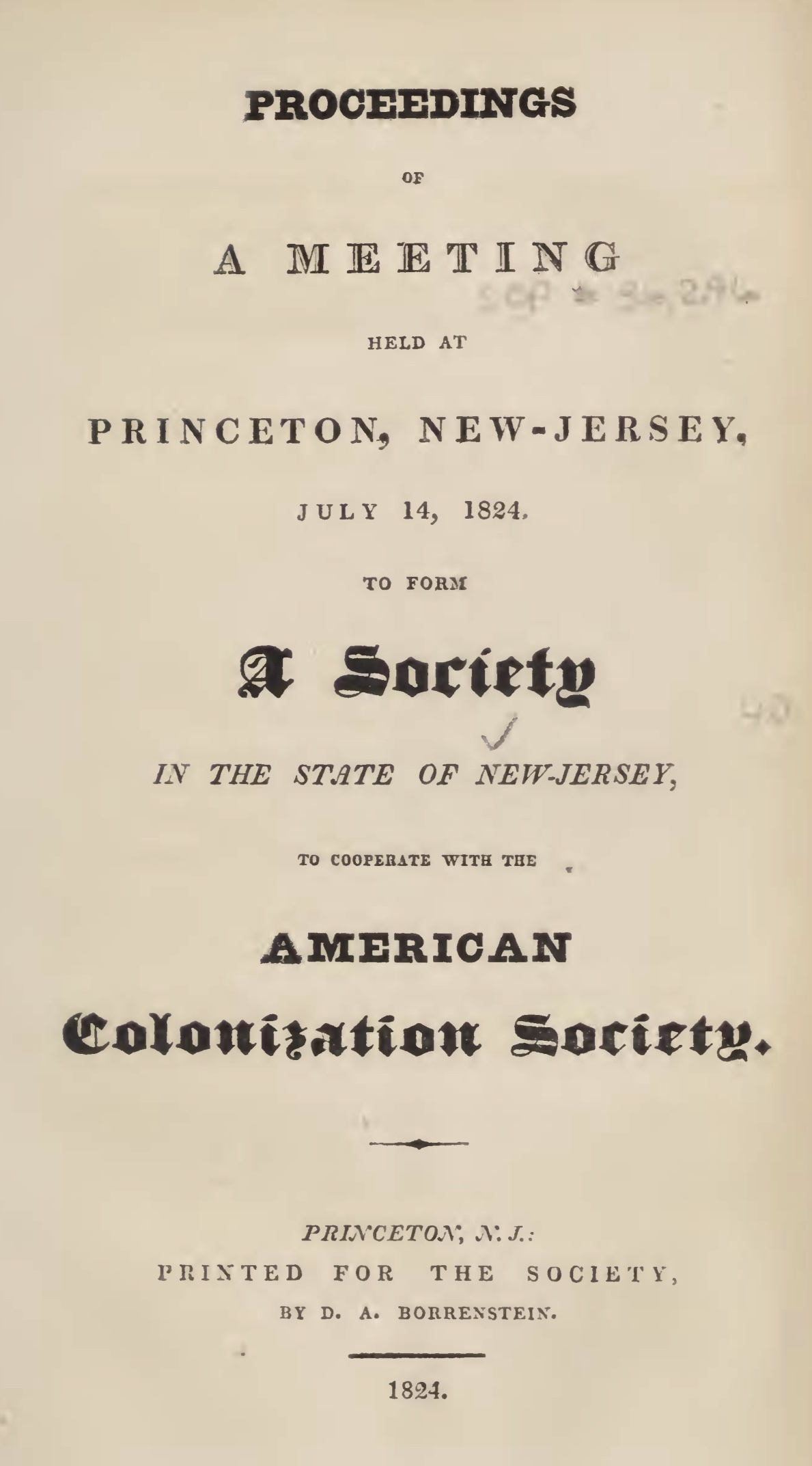 """Proceedings of a Meeting Held at Princeton"""