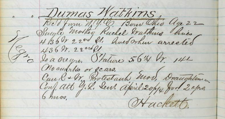"""Dumas Watkins"" Prison Admission Record"