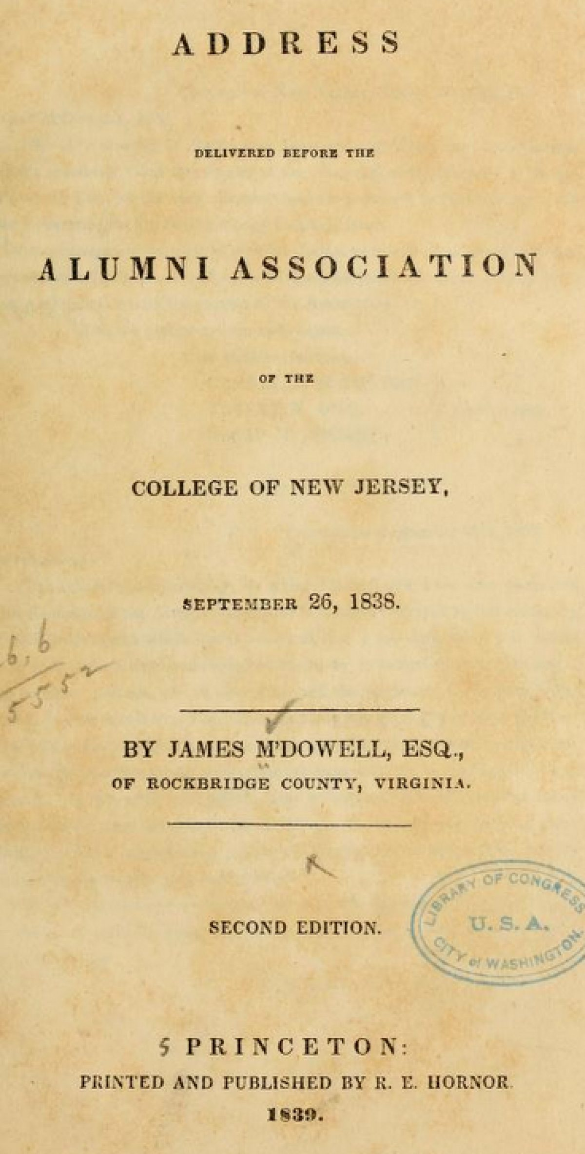 Mdowell Address Delivered Before The Alumni Association Of The College Of New Jersey