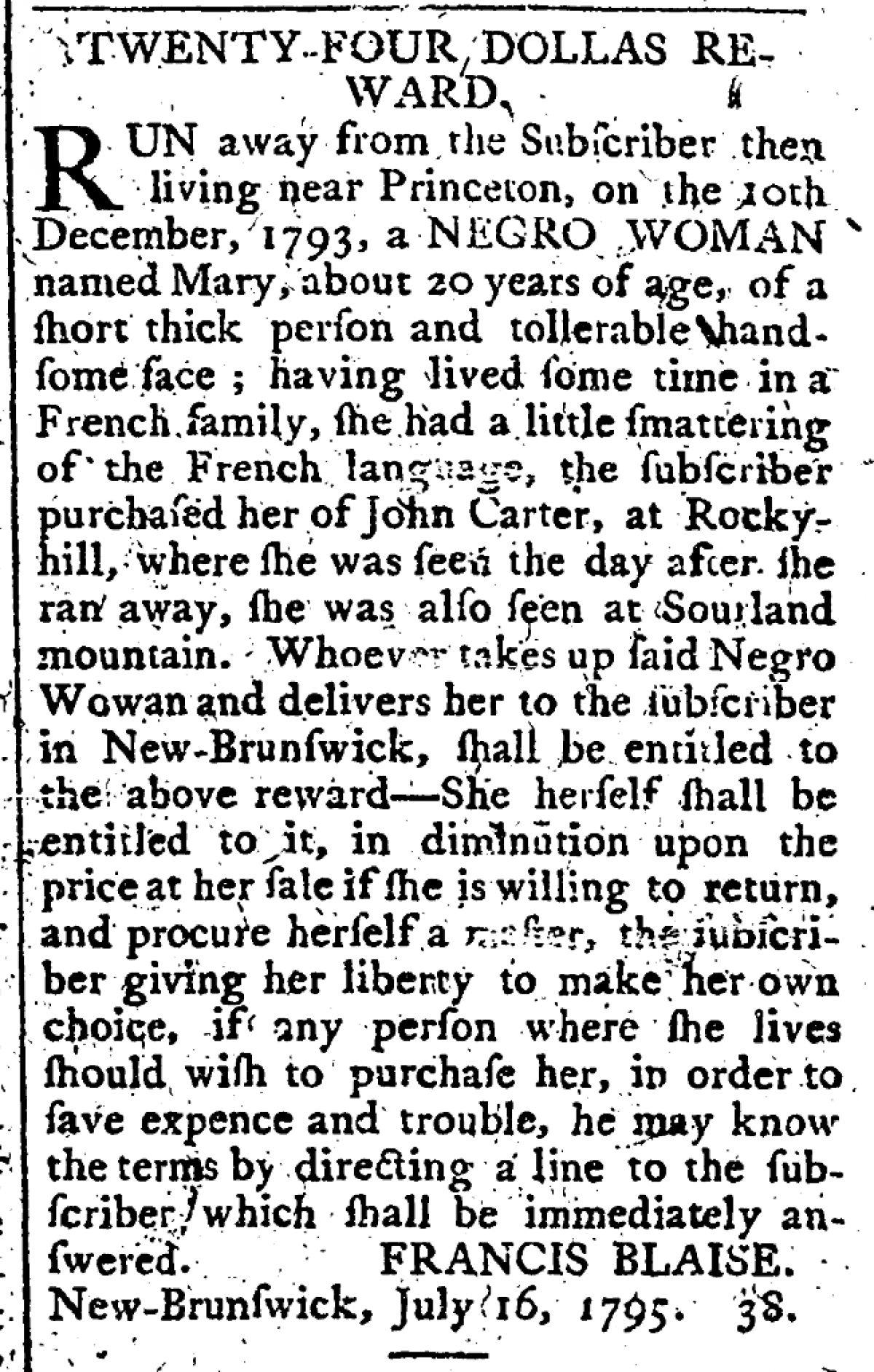 """""""Twenty-Four Dollars Reward"""" for Mary"""