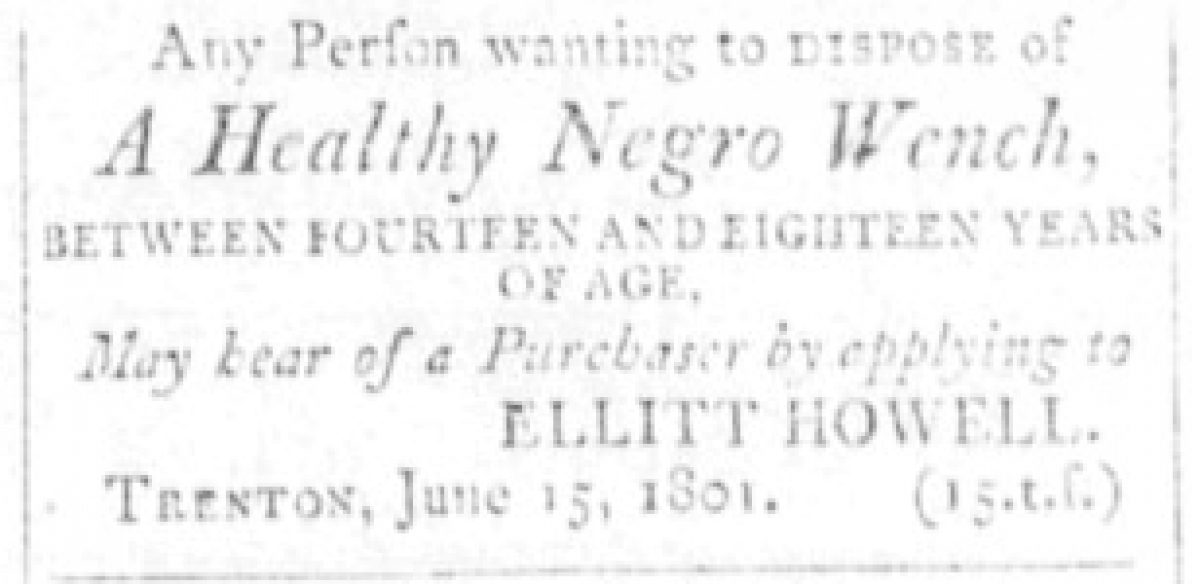 """""""Negro Wench"""" to be sold to Ellitt Howell"""
