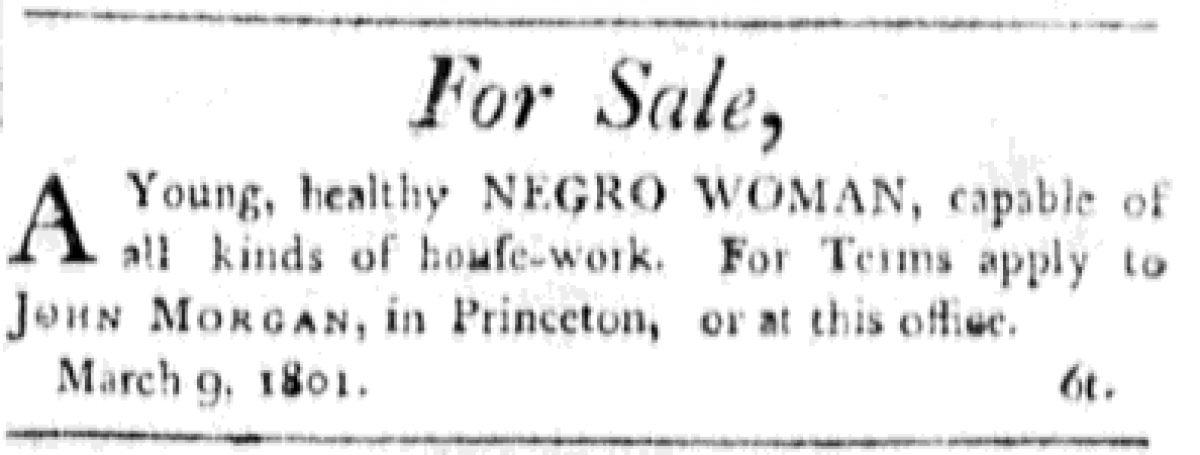 """Negro Woman"" to be sold by John Morgan"