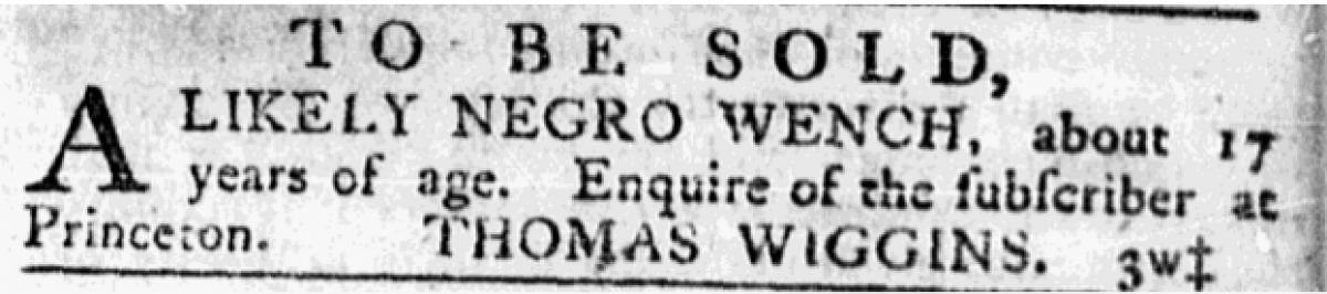 """Negro Wench"" to be sold by Thomas Wiggins"