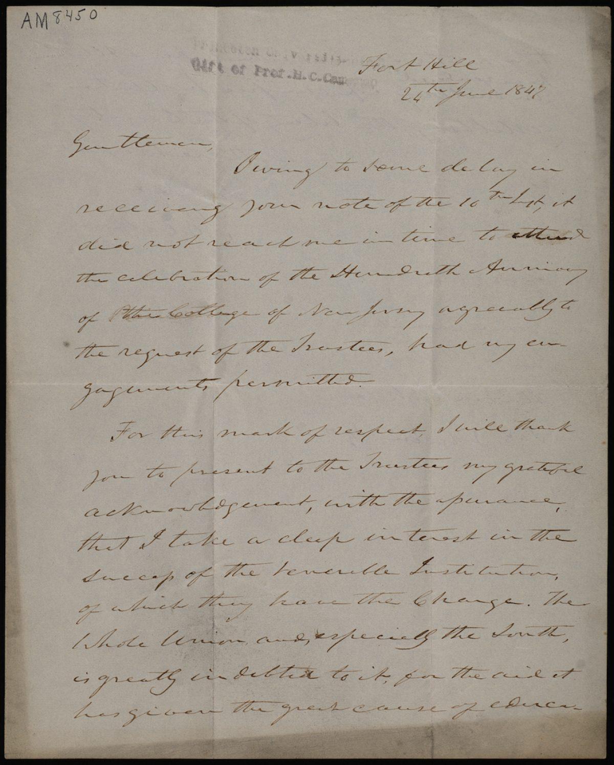 Letter from John C. Calhoun