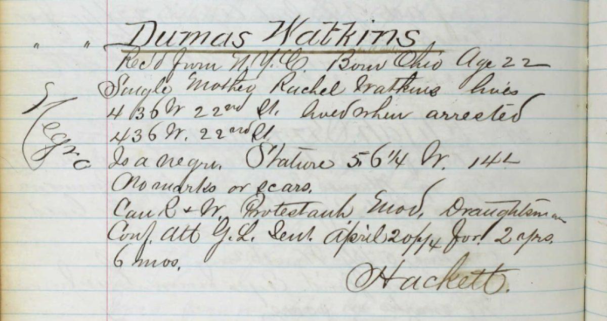 Watkins Prison Records 1874