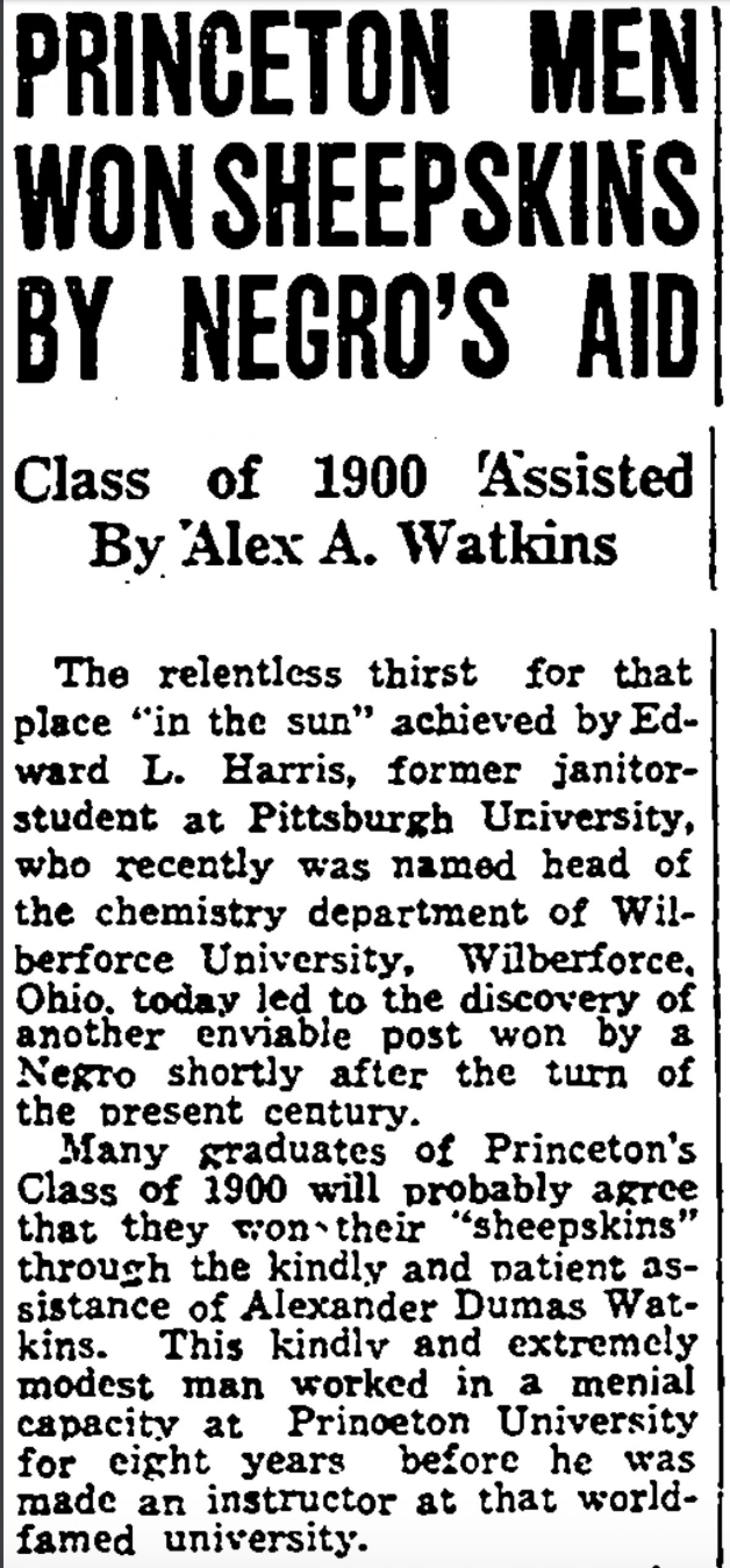 Watkins 1938 Amsterdam News Article Thumbnail