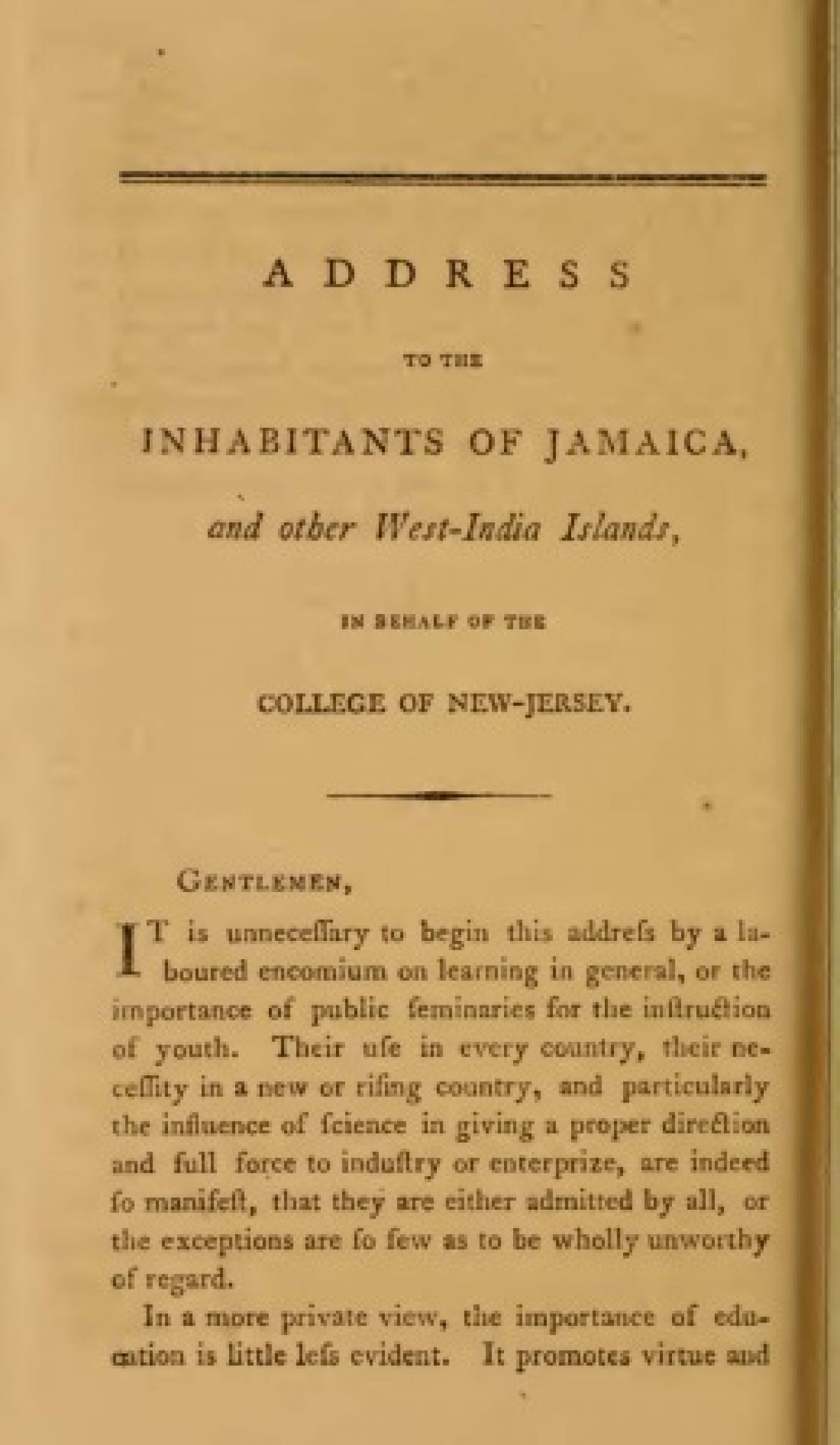 Address To The Inhabitants Of Jamaica And Other West India Islands