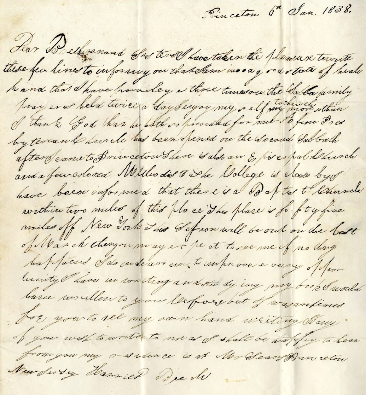 Letter from Harriet Beech