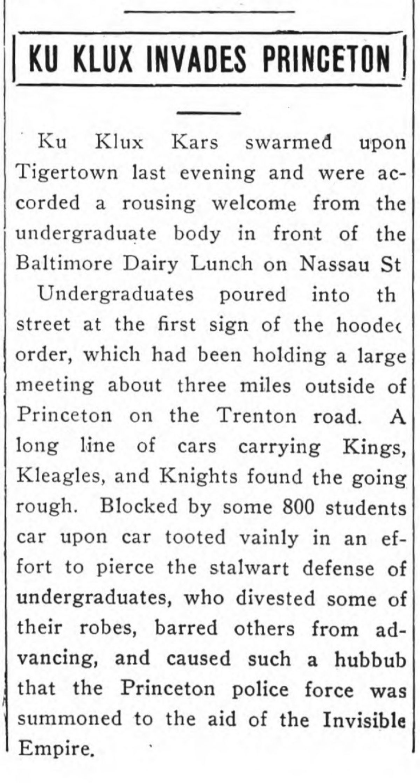 Daily Princetonian 17 Oct 1924 Ku Klux Invades Princeton