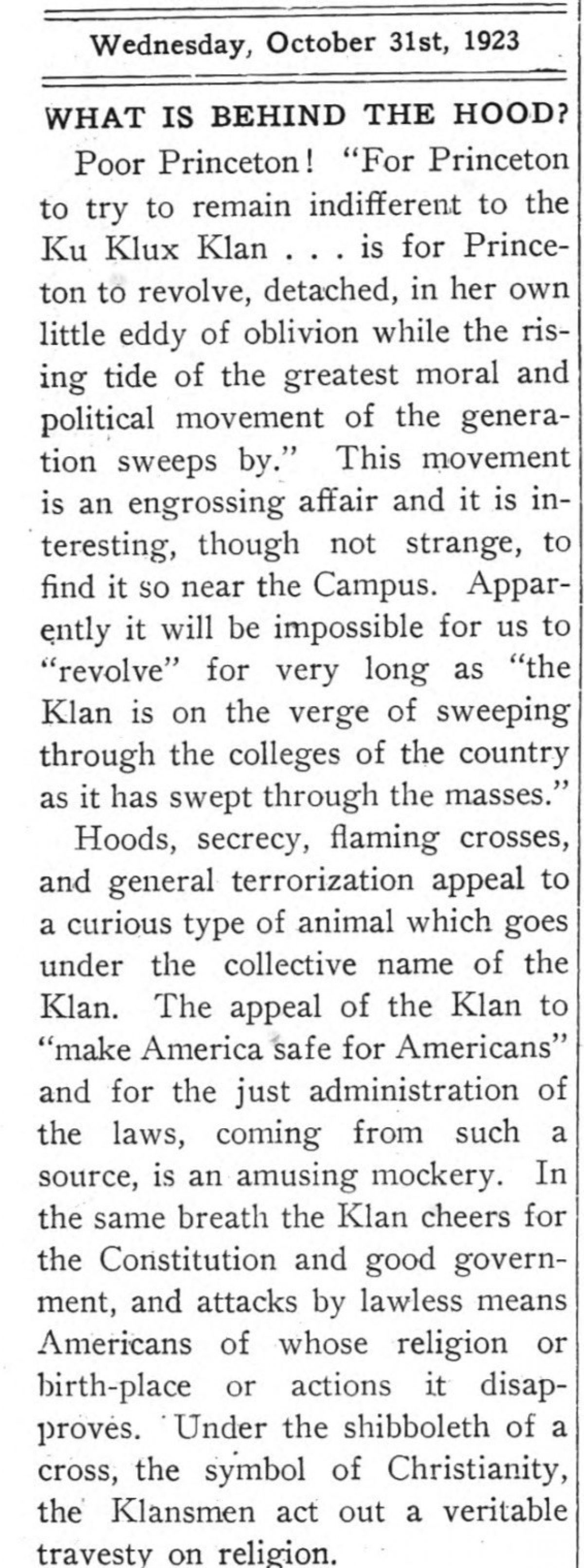 Daily Princetonian 31 Oct 1923 Behind the Hood crop
