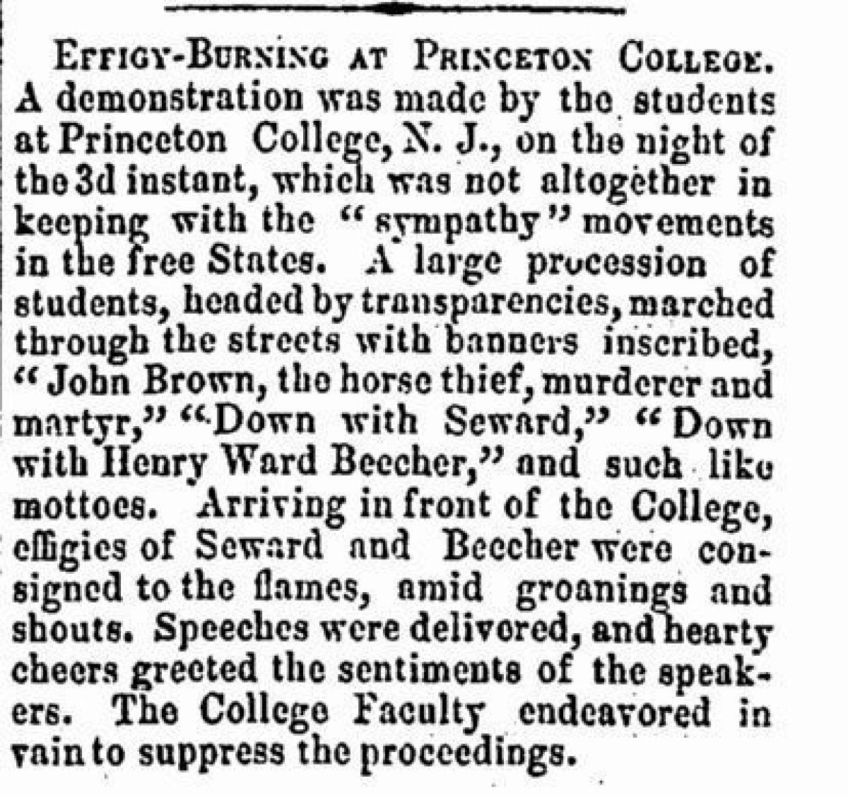Effigy Burning At Princeton College