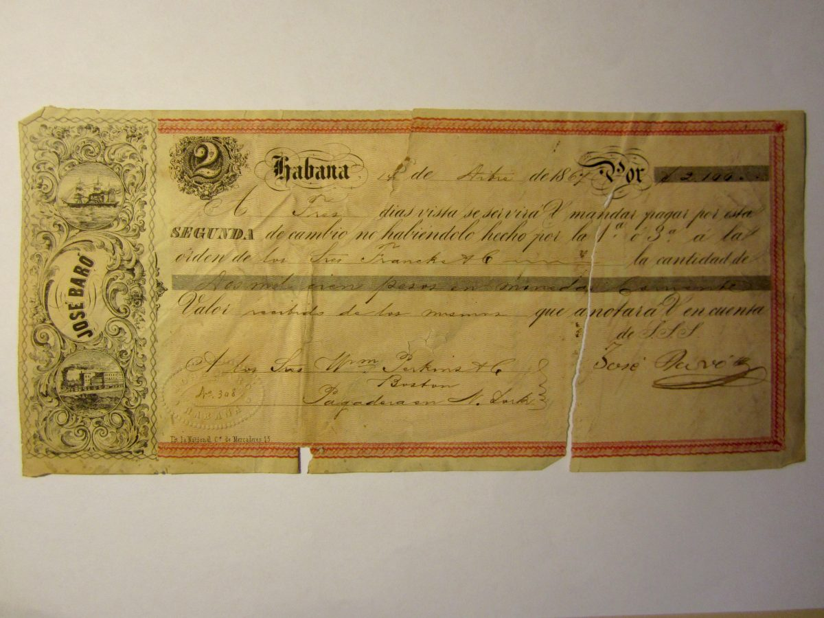 Personal Check of José Baró