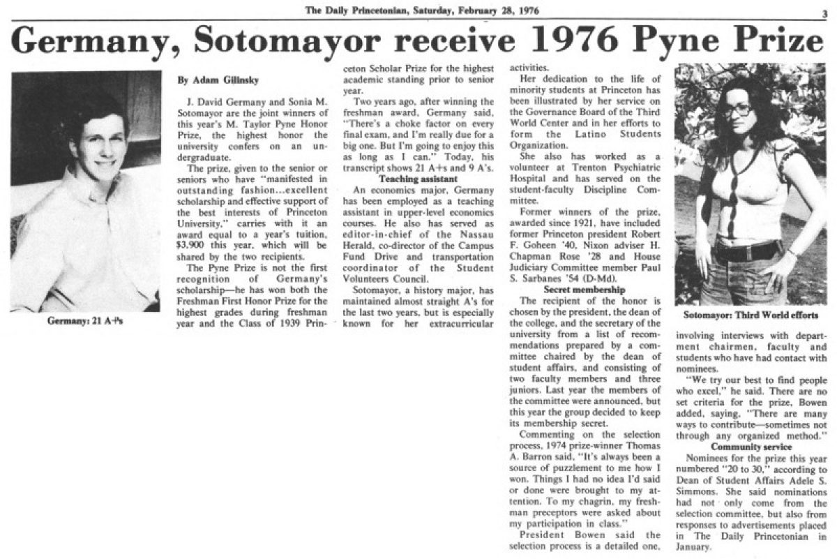 """Germany, Sotomayor Receive 1976 Pyne Prize"""