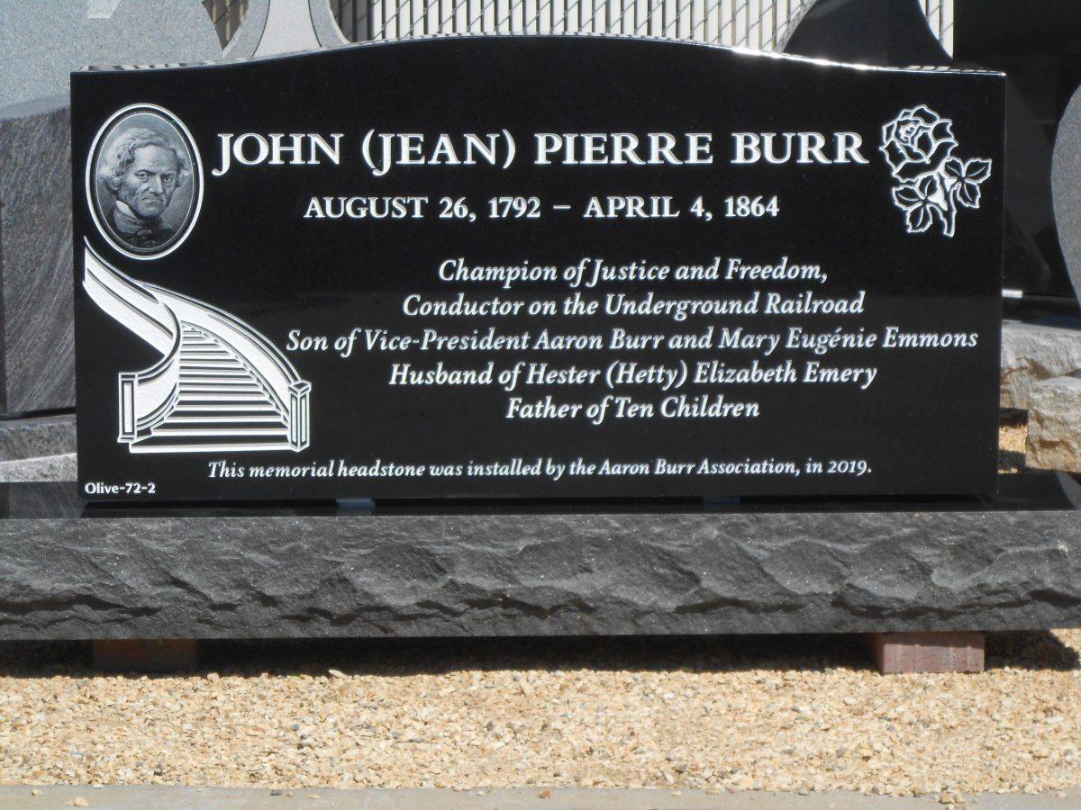 John Pierre Burr headstone 4mp