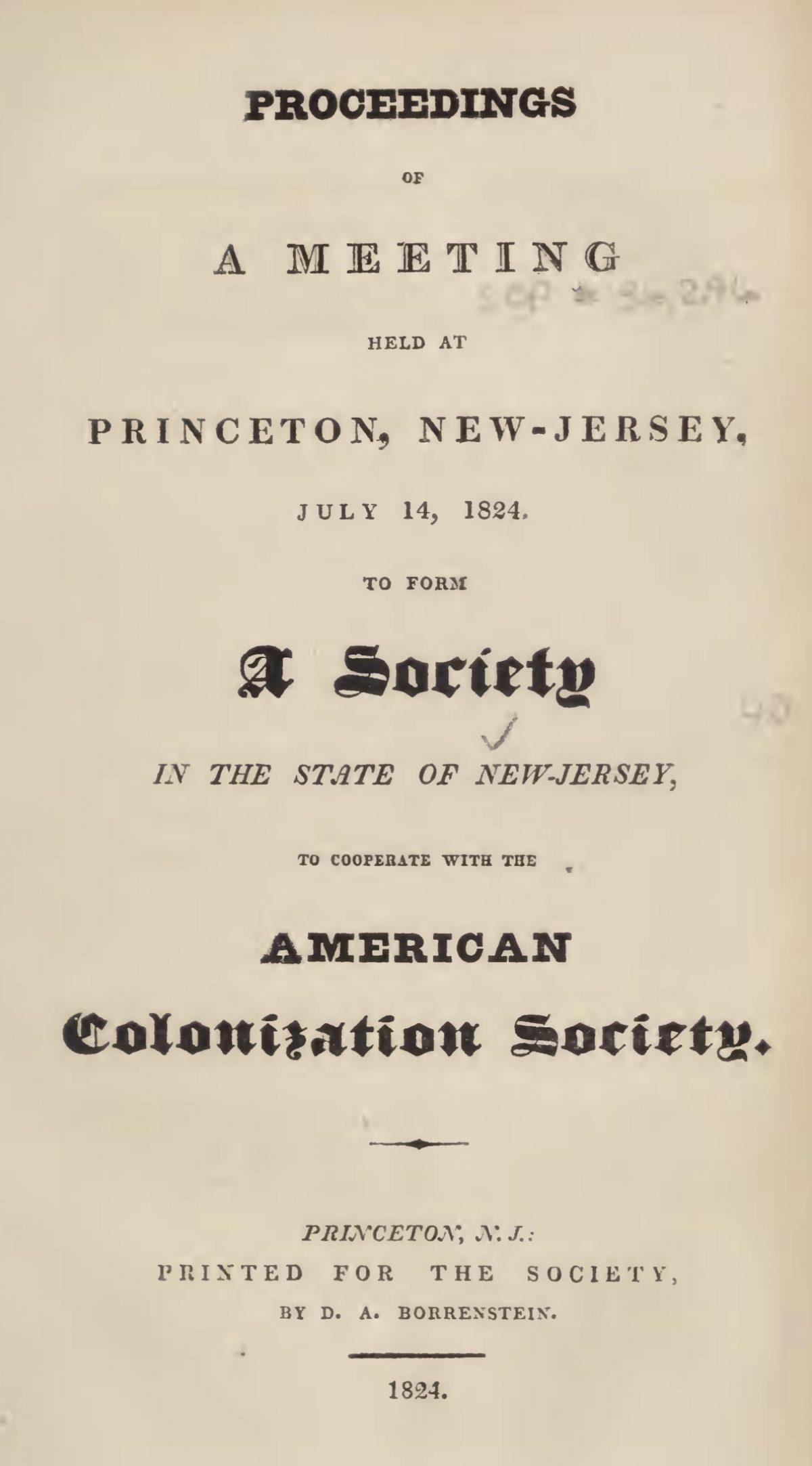 """Proceedings of a Meeting Held at Princeton"""