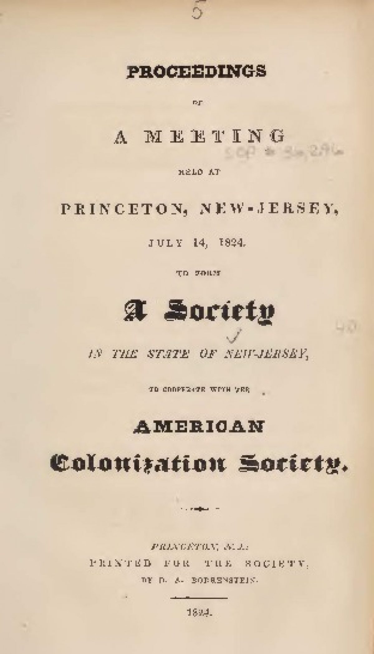 Proceedings Of A Meeting Held At Princeton