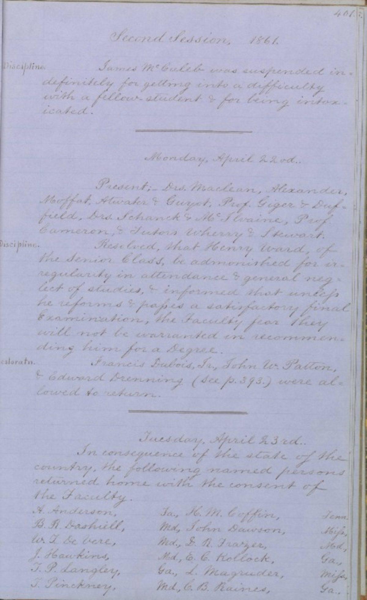 Student Exodus Of 1861