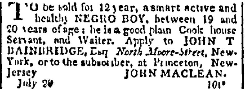"""Negro Boy"" to be sold by John Maclean Sr."