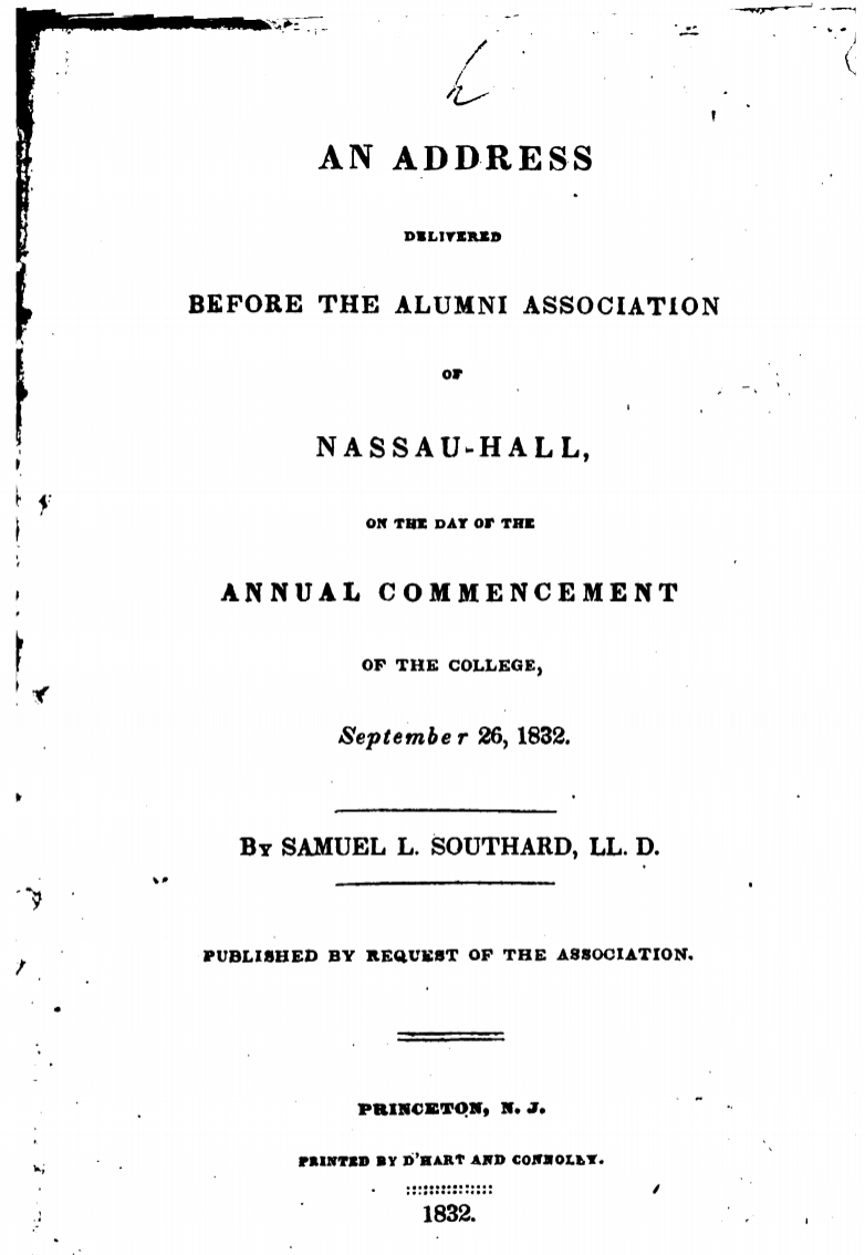 """An Address Delivered Before the Alumni Association of Nassau-Hall"""